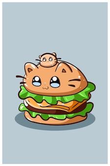 Сладкий и милый гамбургер с иллюстрацией шаржа кота