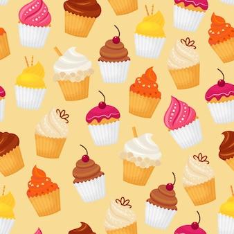 甘くて美味しい食品デザートカップケーキシームレスなパターンのベクトル図