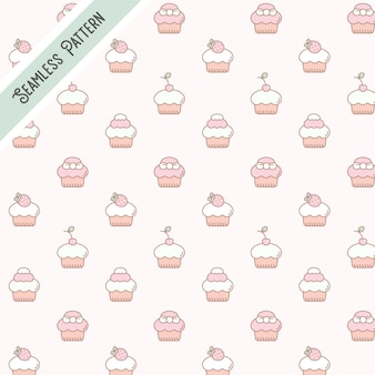 달콤하고 맛있는 음식 디저트 컵케익 원활한 패턴