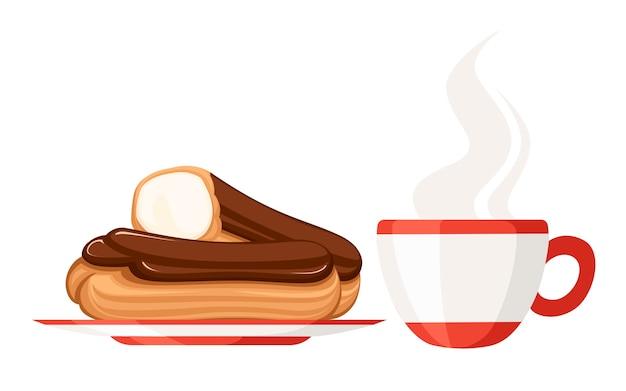 달콤하고 맛있는 크림 eclair 디저트와 티 컵