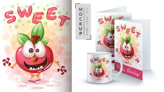 甘いリンゴのポスターと商品化