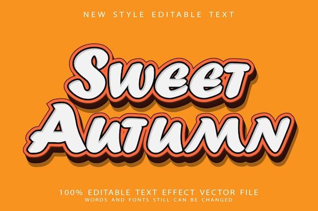 Сладкий осенний редактируемый текстовый эффект с тиснением в современном стиле