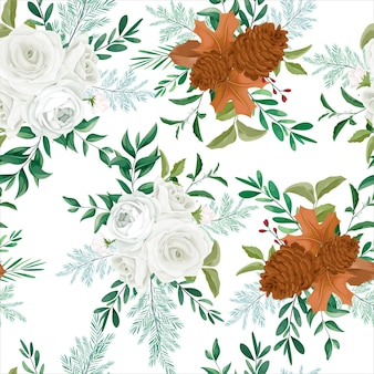Сладкий осенний цветочный бесшовный узор с розой и цветком сосны