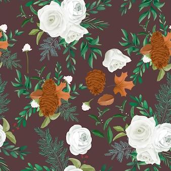 バラと松の花と甘い秋の花のシームレスなパターンデザイン