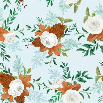 Sweet autumn floral seamless pattern design with rose and pine flower