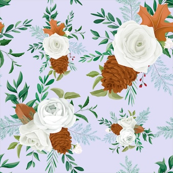 Dolce motivo floreale autunnale senza cuciture con fiori di rosa e pino