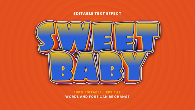 Sweet baby editable text effect in modern 3d style