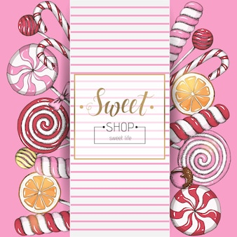 Sweet background with lollipops and frame with text on pink. candy shop. hand written lettering.