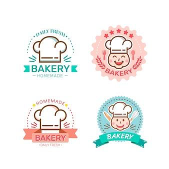 Дизайн этикеток для сладкой выпечки и хлеба для магазина сладостей Premium векторы