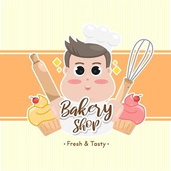 甘いパン屋のバッジのラベルとロゴ