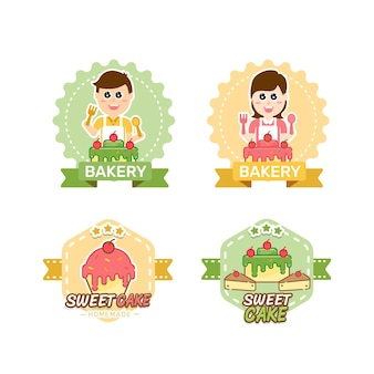 Sweet bakery and bread labels design for sweets shop
