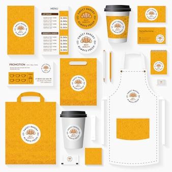 Sweet bakery corporate identity template set