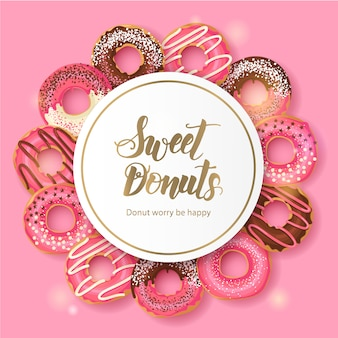 Sweet bakery frame with glazed pink and chocolate donuts on pink. hand made lettering