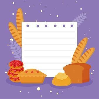 紫色の背景にメモ用紙で設定された甘いパン屋のアイコン