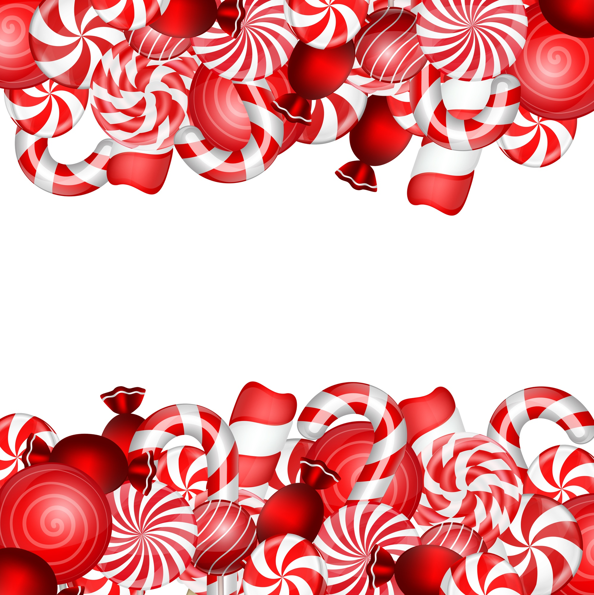 Sweet banner with lollipop and candies cane