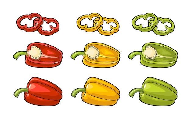 Сладкий болгарский красный, зеленый, желтый перец. старинные цветные иллюстрации для меню, плаката, этикетки. изолированные на белом фоне.