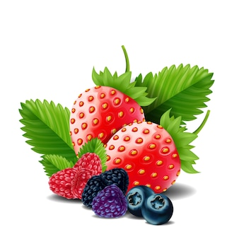 Sweet berries mix isolated