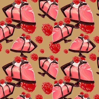 Sweet berry and chocolate cake seamless pattern design