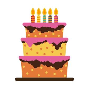 다섯 개의 불타는 초와 함께 달콤한 생일 케이크. 화려한 휴가 디저트. 벡터 축 하 배경입니다.