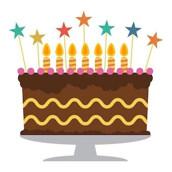 일곱 개의 불타는 초와 함께 달콤한 생일 케이크입니다. 화려한 휴가 디저트. 벡터 축 하 배경입니다.