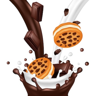 Sweet biscuit with chocolate isolated on white background. realistic milk and chocolate flows illustration