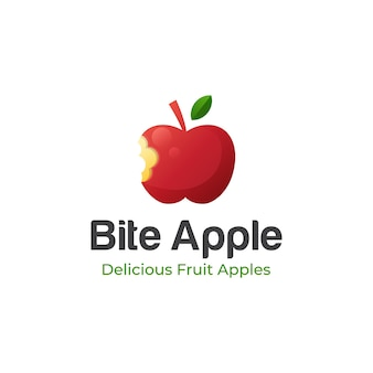 Sweet bite apple fruit logo design