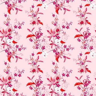 Sweet blooming gentle garden orchid flowers and many kind of floral seamless pattern