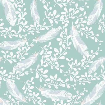甘い青と白の羽のシームレスなパターン
