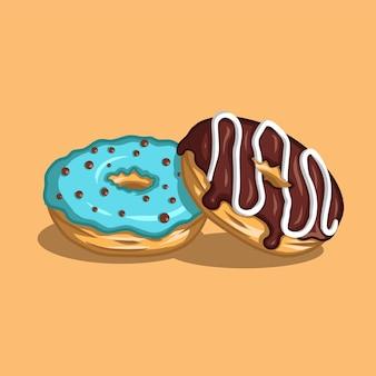 Пончик со сладким голубым кремом и пончик с шоколадным кремом