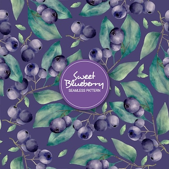 Sweet blueberry seamless pattern
