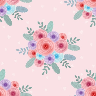Sweet bouquet pattern seamless vector background