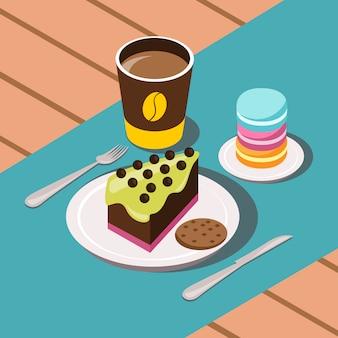 커피 케이크와 쿠키 벡터 일러스트와 함께 달콤한 아침 만화 구성