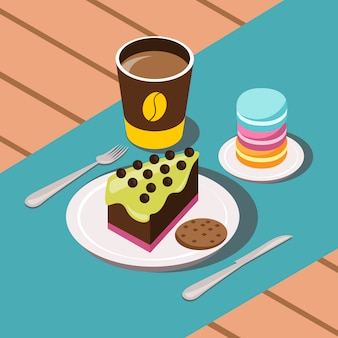 Sweet breakfast cartoon composition with coffee cakes and cookies vector illustration