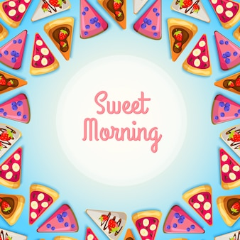 Sweet breakfast template with pieces of tasty pie and different ingredients on blue illustration