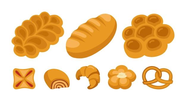 달콤한 빵 만화 클립 아트 세트. 베이커리 상품 빵 덩어리와 고리 버들 빵 프레첼, 크로와상 퍼프 페이스트리, 롤