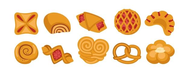 달콤한 빵 만화 아이콘 세트. 디자인 메뉴 베이커리 심볼, 잼 퍼프, 빵 베이커리 상품 및 고리 버들 프레첼, 베이글, 크루아상 페이스트리, 롤