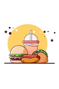 달콤한 햄버거와 주스 아이콘 만화