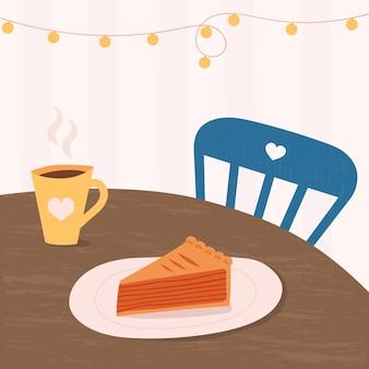 甘いケーキとテーブルの上のコーヒーまたは紅茶のカップ