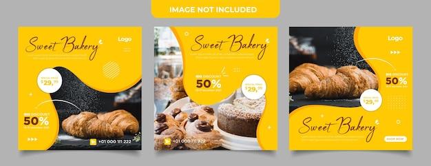 ソーシャルメディア投稿テンプレートの甘いケーキとデザートのバナー
