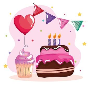 화환과 풍선으로 달콤한 케이크 생일