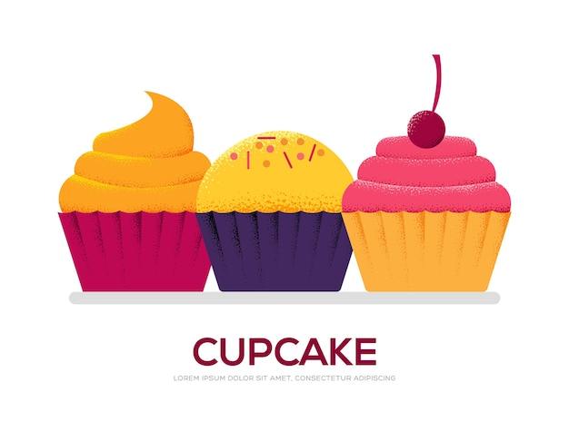 白い背景のイラストの甘いケーキの概念。アートグレインテクスチャスタイル