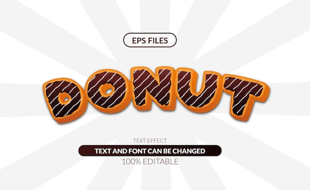 초콜릿 맛있는 음식 편집 가능한 텍스트 효과와 달콤한 케이크 도넛. eps 벡터 파일