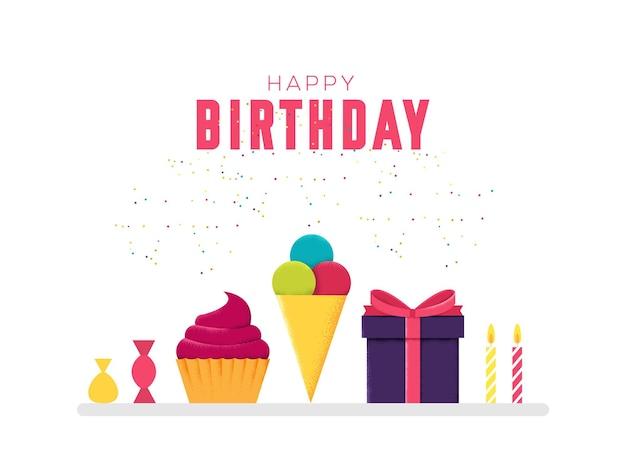 흰색 배경 그림에 달콤한 케이크, 선물 및 음료 개념