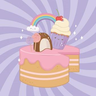 Sweet cake of strawberry cream with kawaii characters
