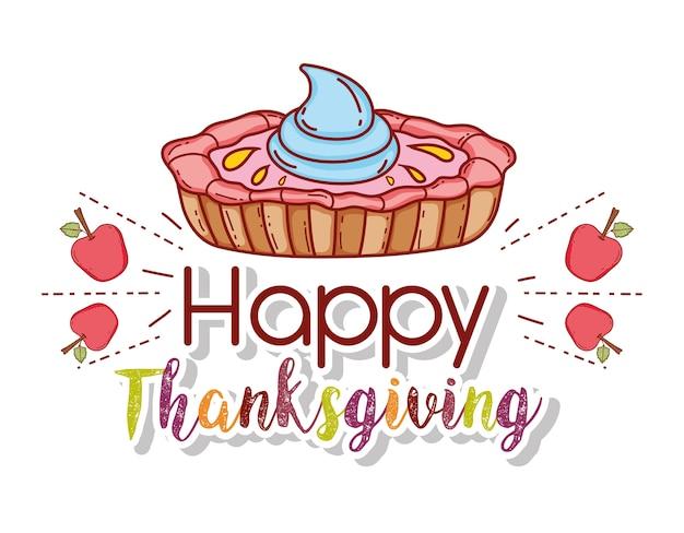 추수 감사절 축하 사과 과일과 달콤한 케이크