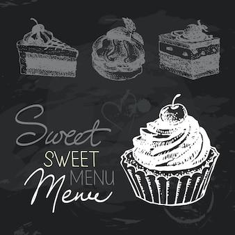 달콤한 케이크 손으로 그린 칠판 디자인 모음입니다. 검은 분필 텍스처