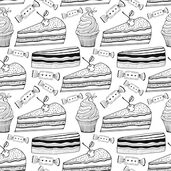 Sweet cakes pattern with cupcakes and candies