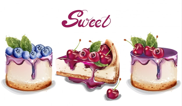 Sweet cakes set watercolor