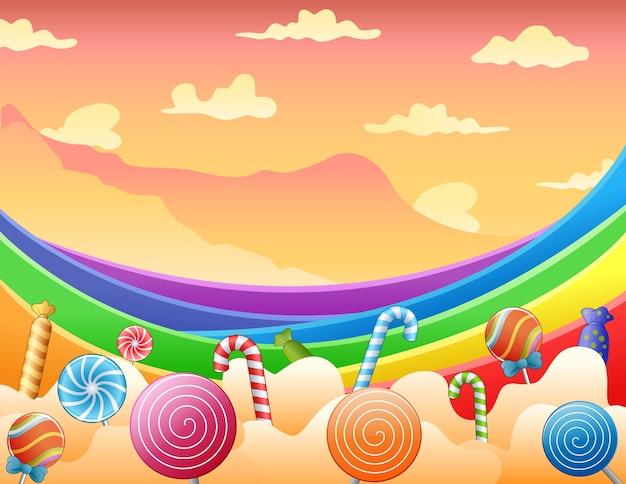 Сладкие конфеты и радуга на небе
