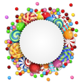 Sweet candies background with blank sign